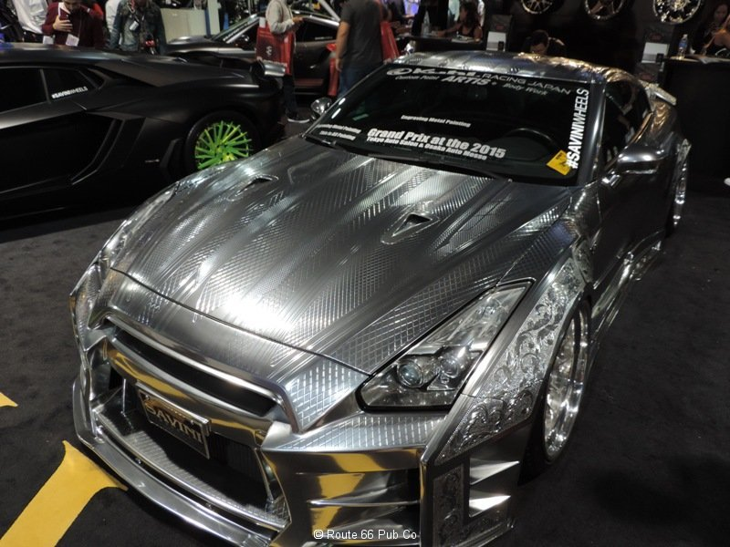 Silver Nissan GTR front view