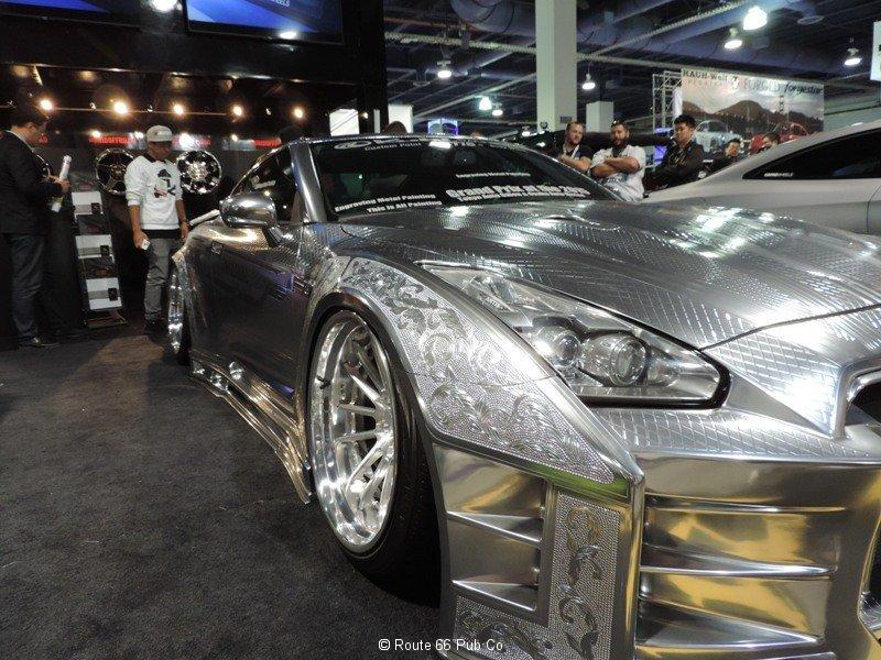 Silver Nissan GTR passenger side close up
